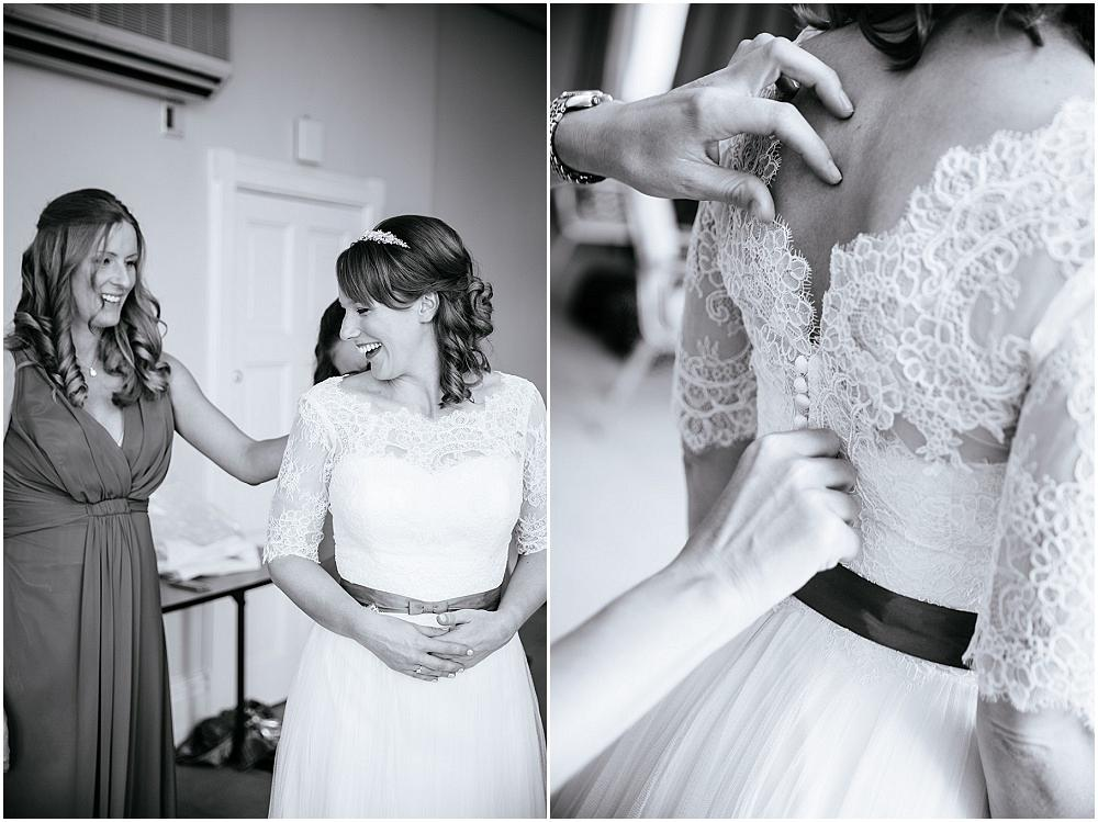 Wedding dress with lace cover up