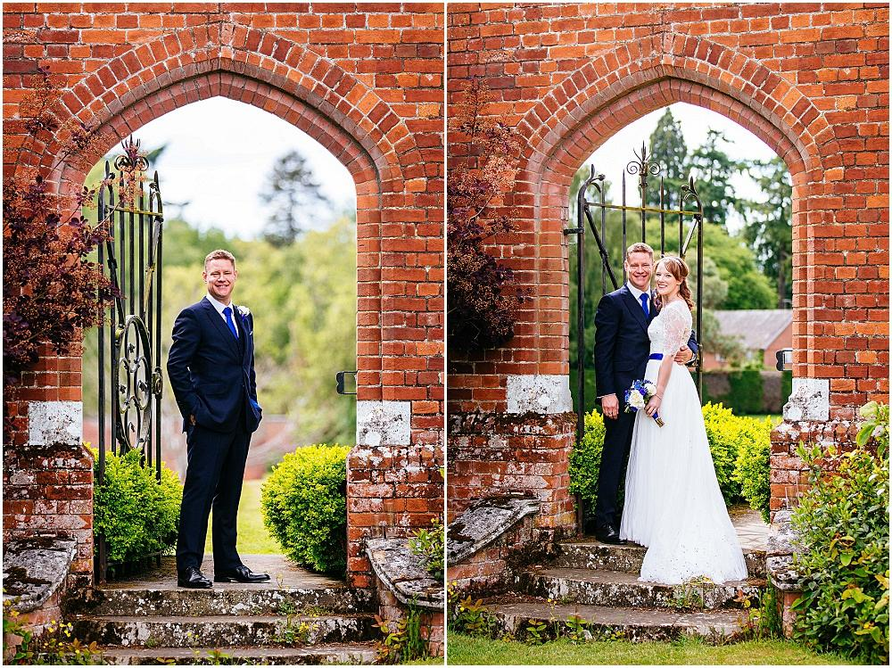 Couple photographs in archway