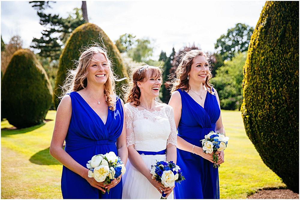 Bride and bridesmaids in blue