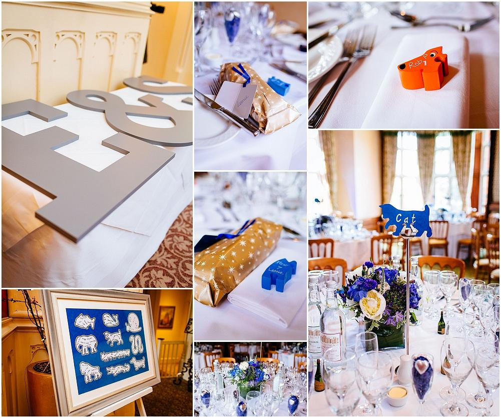Blue wedding details at the Elvetham