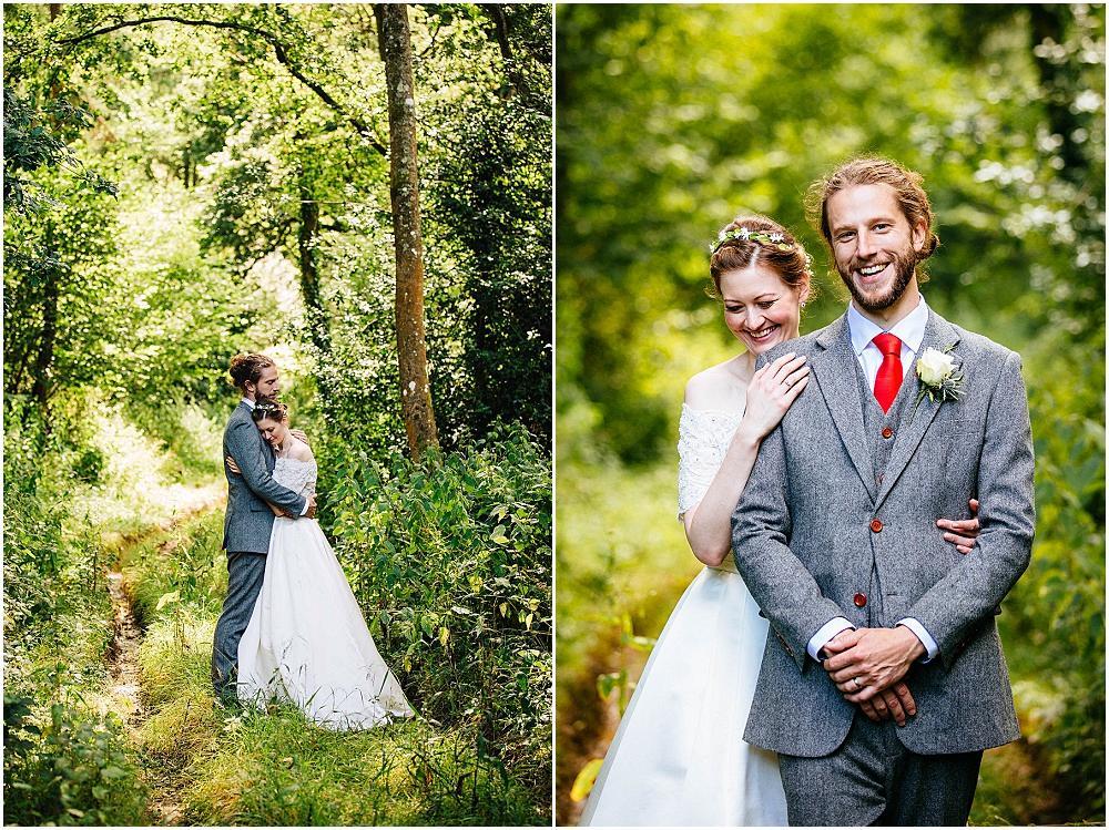 Bride and groom in Bartholomew Barn woods