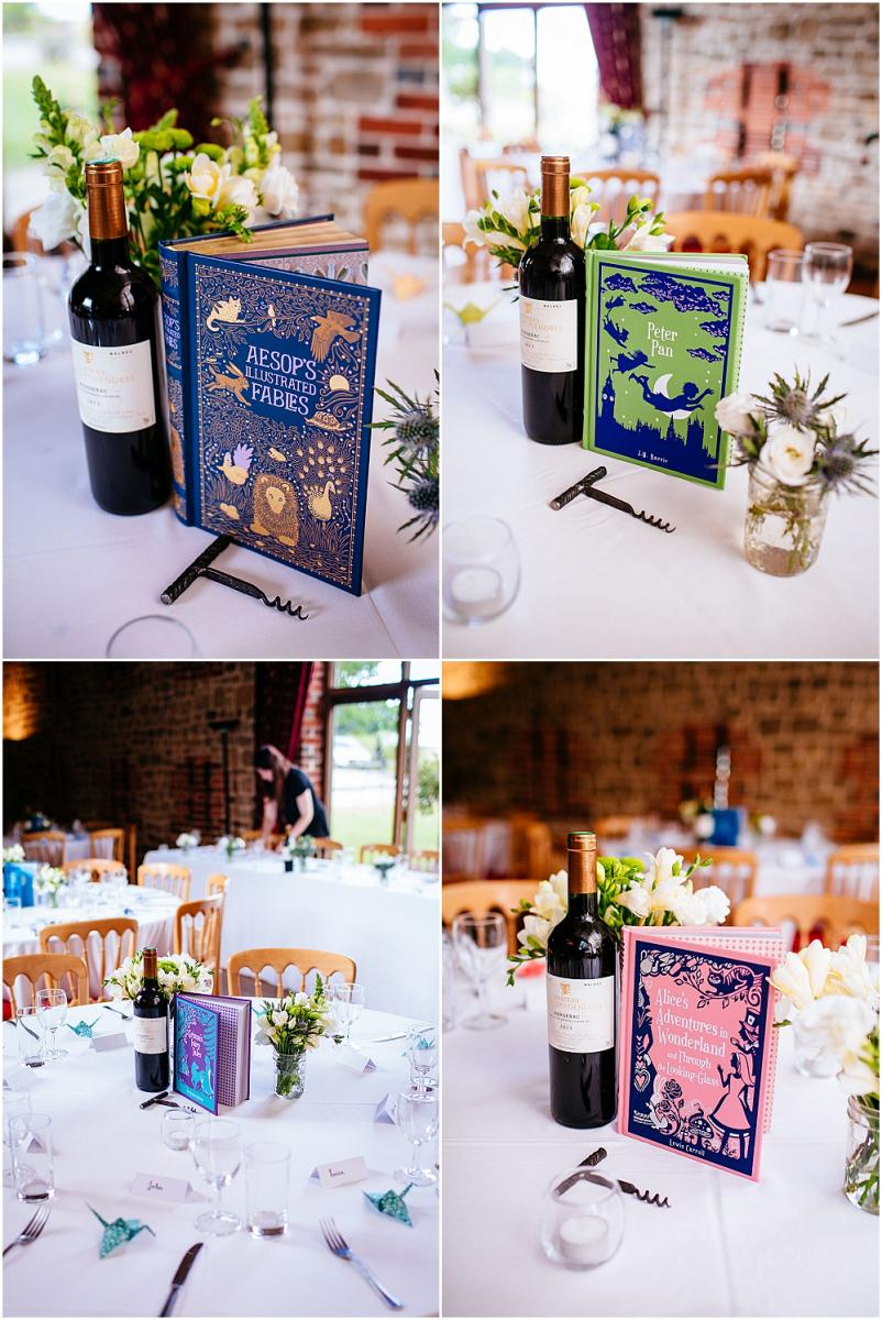 Books as centrepieces at wedding