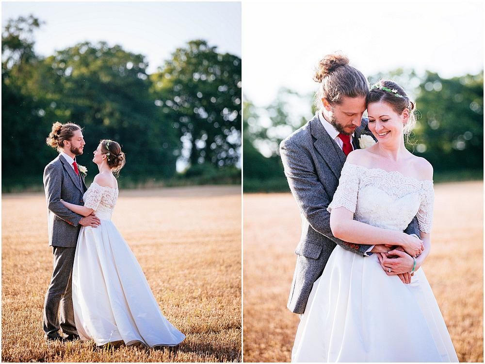 Couple portraits in golden hour at wedding