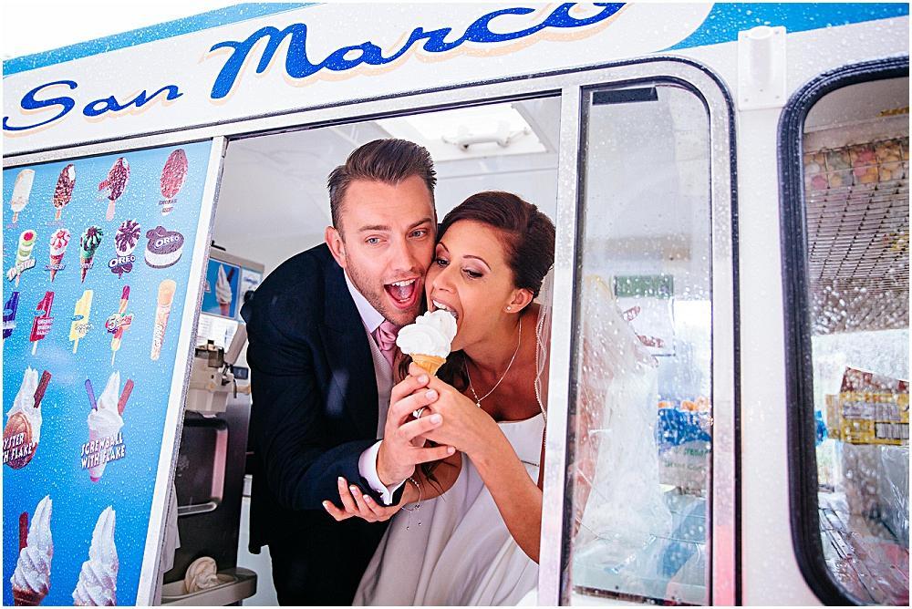 Bride and groom in ice cream van