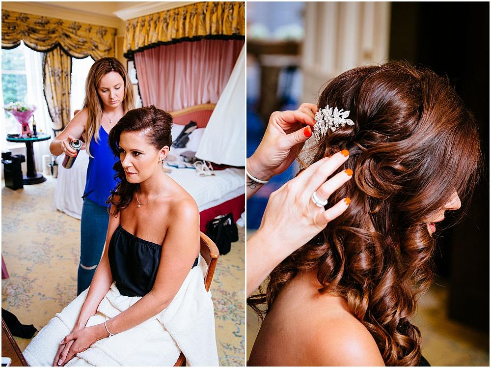 Bride getting ready at Down Hall
