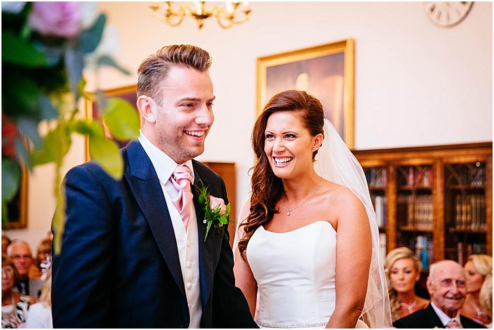 Laughter during Down Hall wedding ceremony