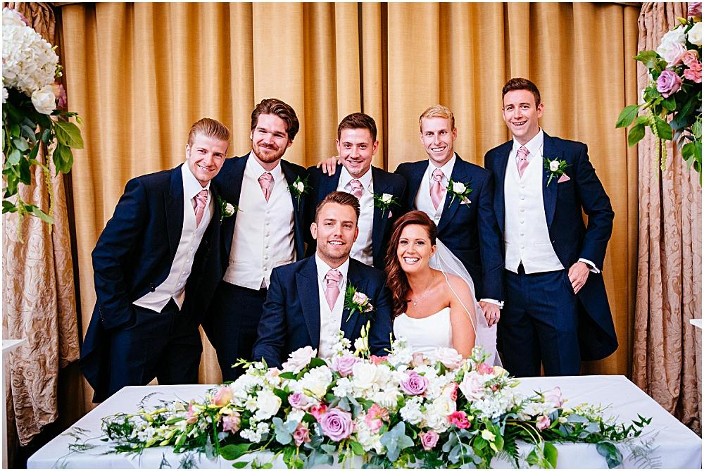 Bride and groom and ushers