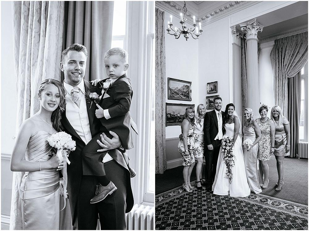 Black and white group photographs