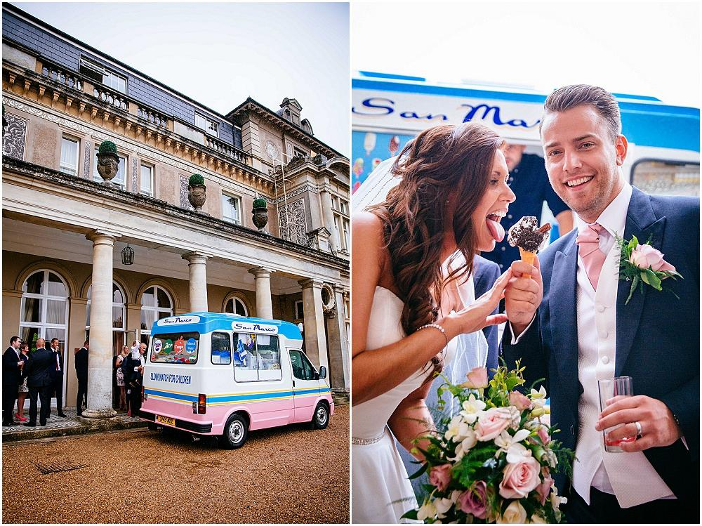 Bride and groom and ice cream van
