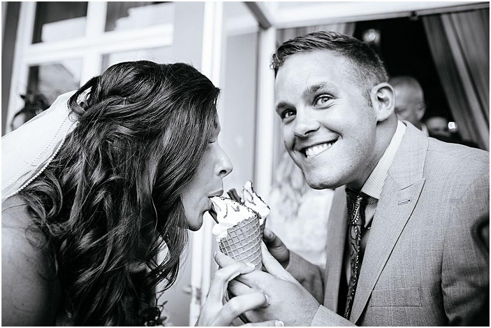 Bride stealing guests ice cream