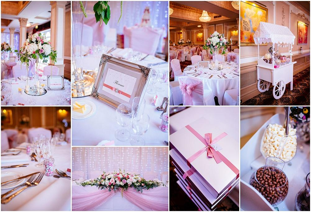 Down hall wedding breakfast with pink details