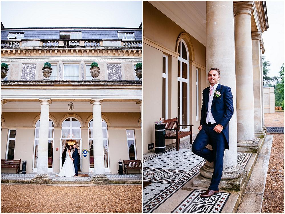 Down hall wedding photographs by pillars
