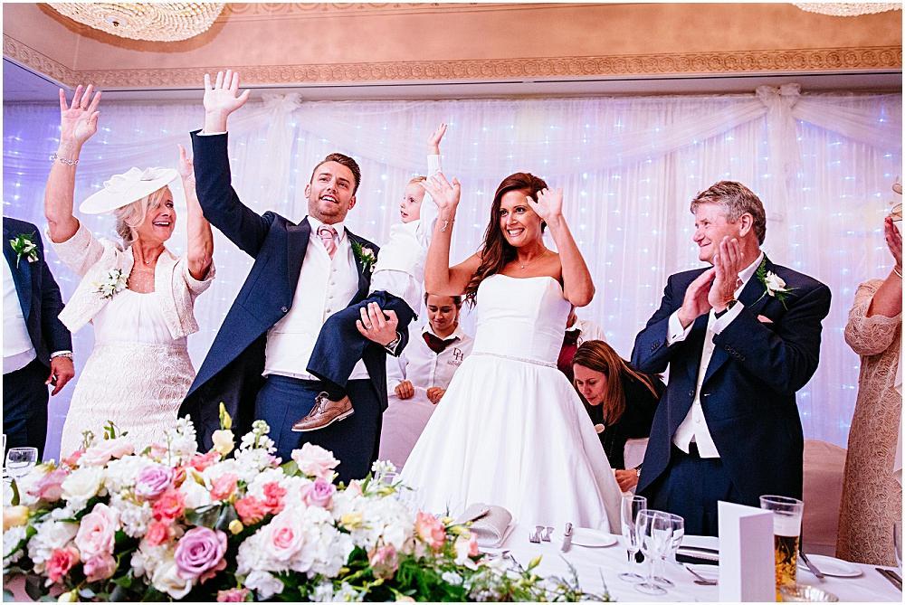 Dancing top table at Down Hall wedding breakfast