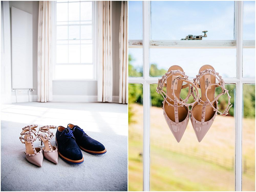 Wedding shoes in bedroom