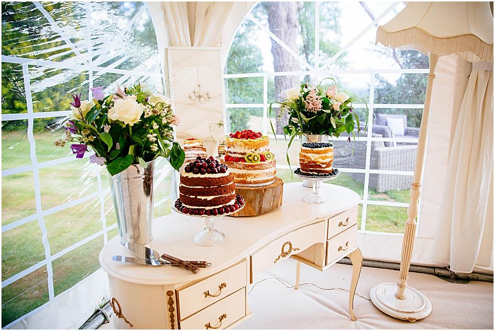 Old dressing table at marquee wedding