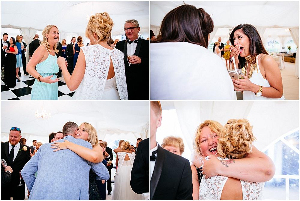 Surprised hugs at secret wedding
