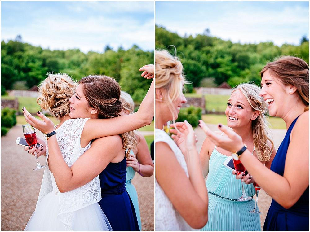 Girls hug bride