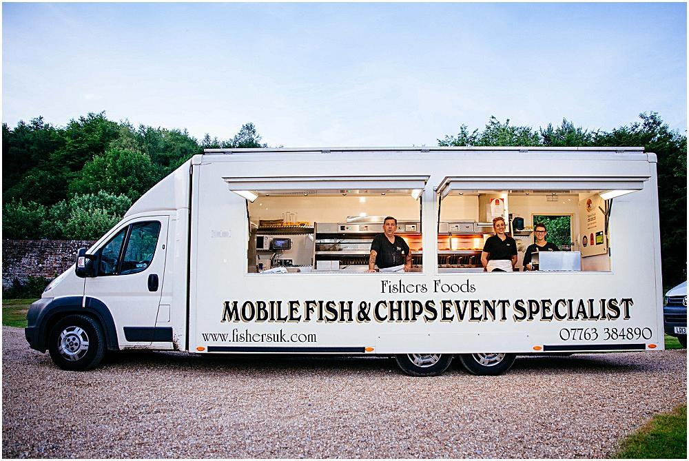 Fish and chips van at wedding