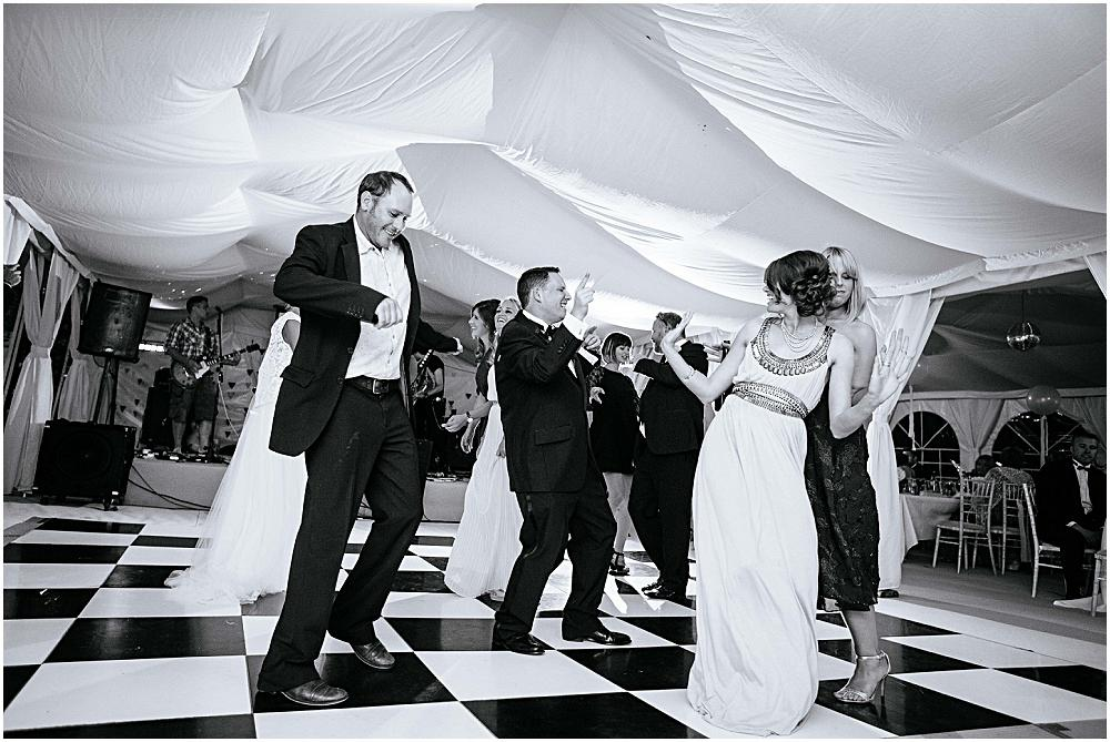 Dancing at marquee wedding in Surrey