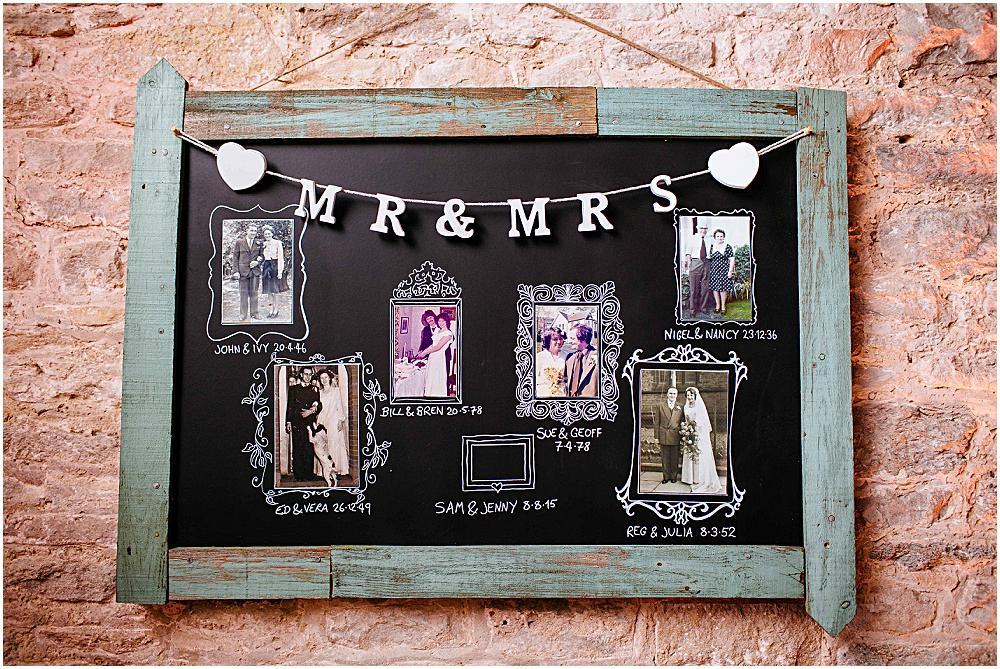 Old wedding photo chalk board at wedding
