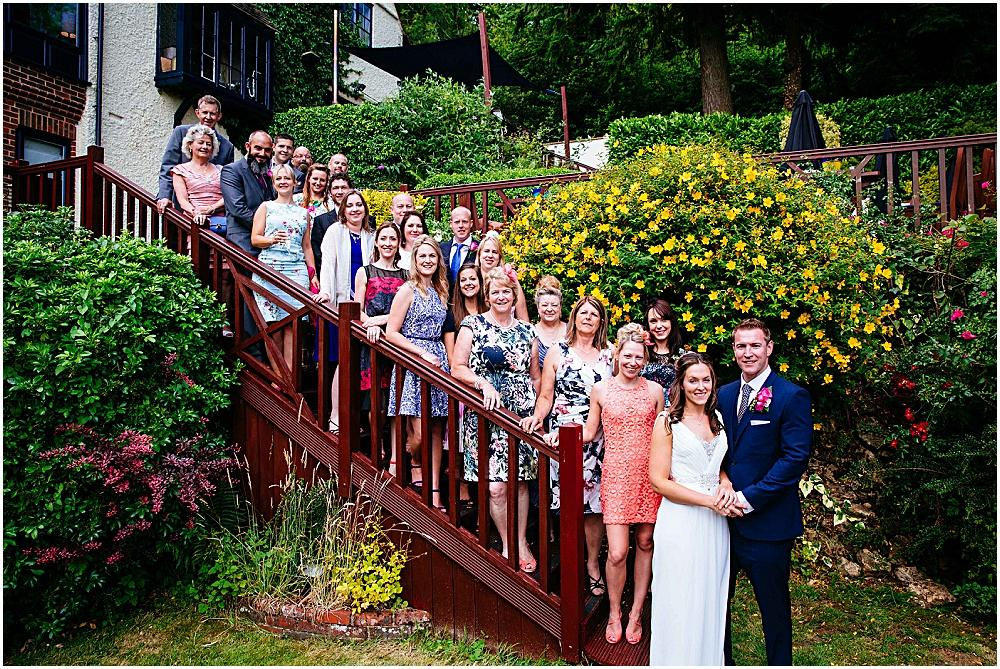 All the wedding party photograph on steps