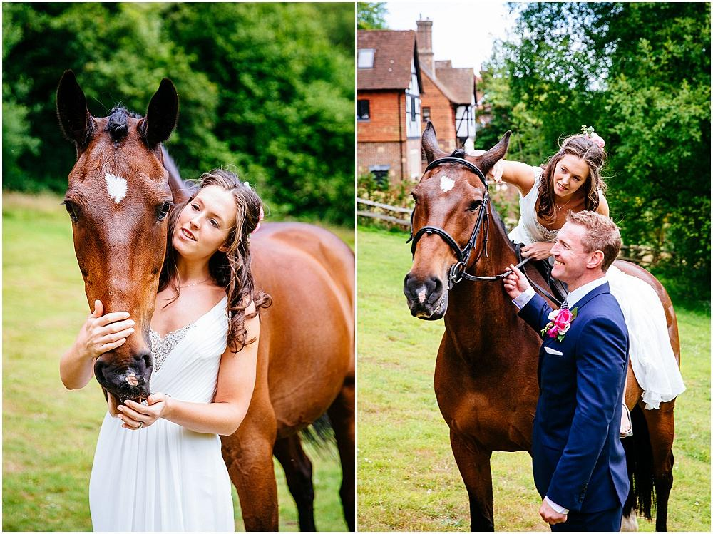Bride looking at her horse