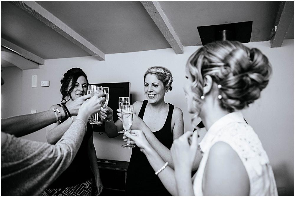 Cheers to the bride to be at the stable flat
