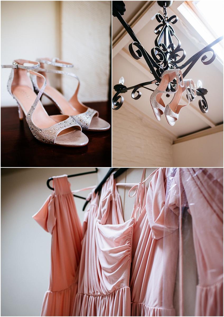 Hanging wedding shoes