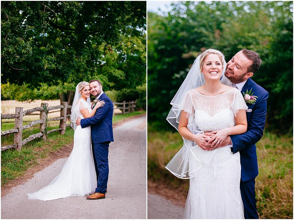 Bride and groom portraits at gate street barn