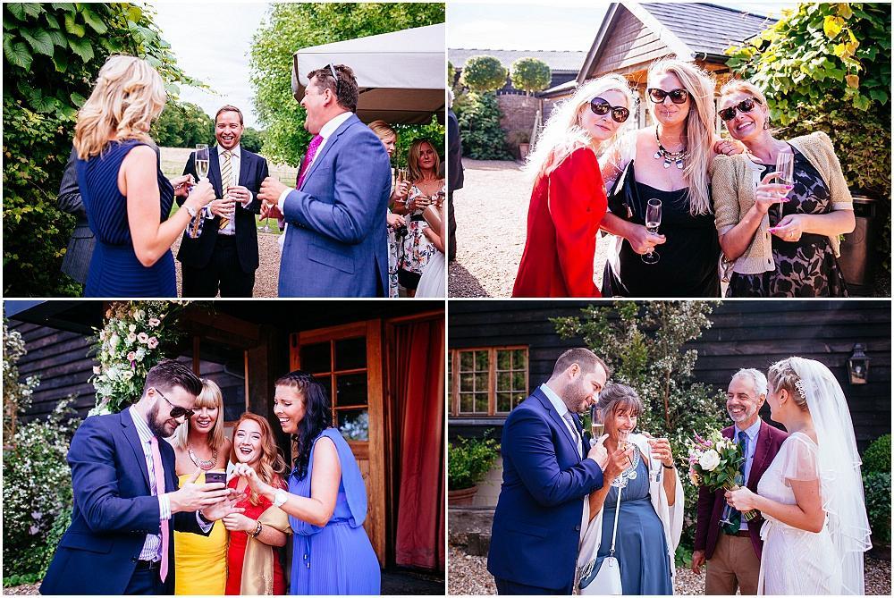 Happy guests at surrey wedding