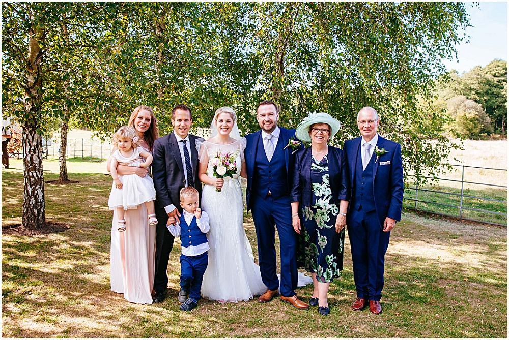 Family photograph at wedding