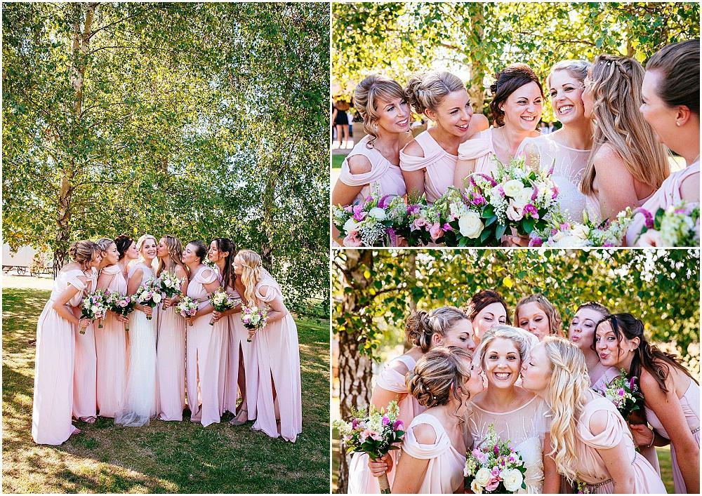 Bridesmaids in long pink dresses