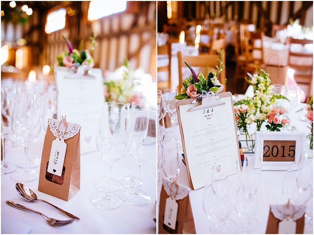 Centrepieces with clip board at wedding