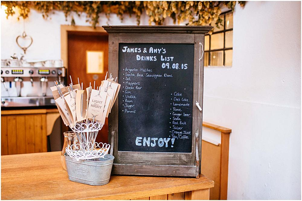 Wedding drink blackboard