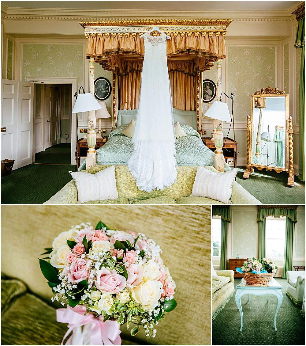 Wedding dress on four poster bed at Brocket Hall