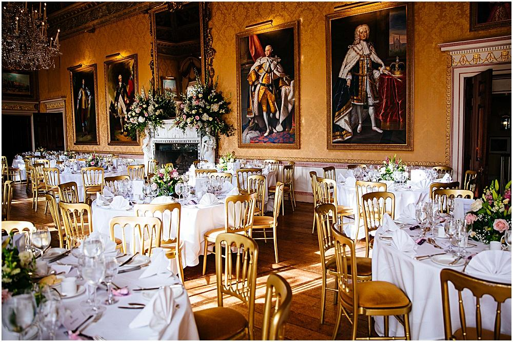 Dining room at Brocket Hall when set up for a wedding
