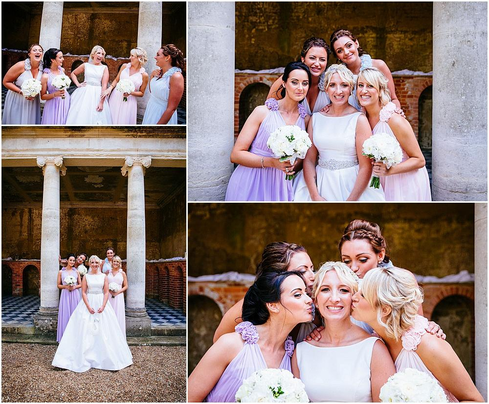 Bridesmaids in coordinating mismatched dresses