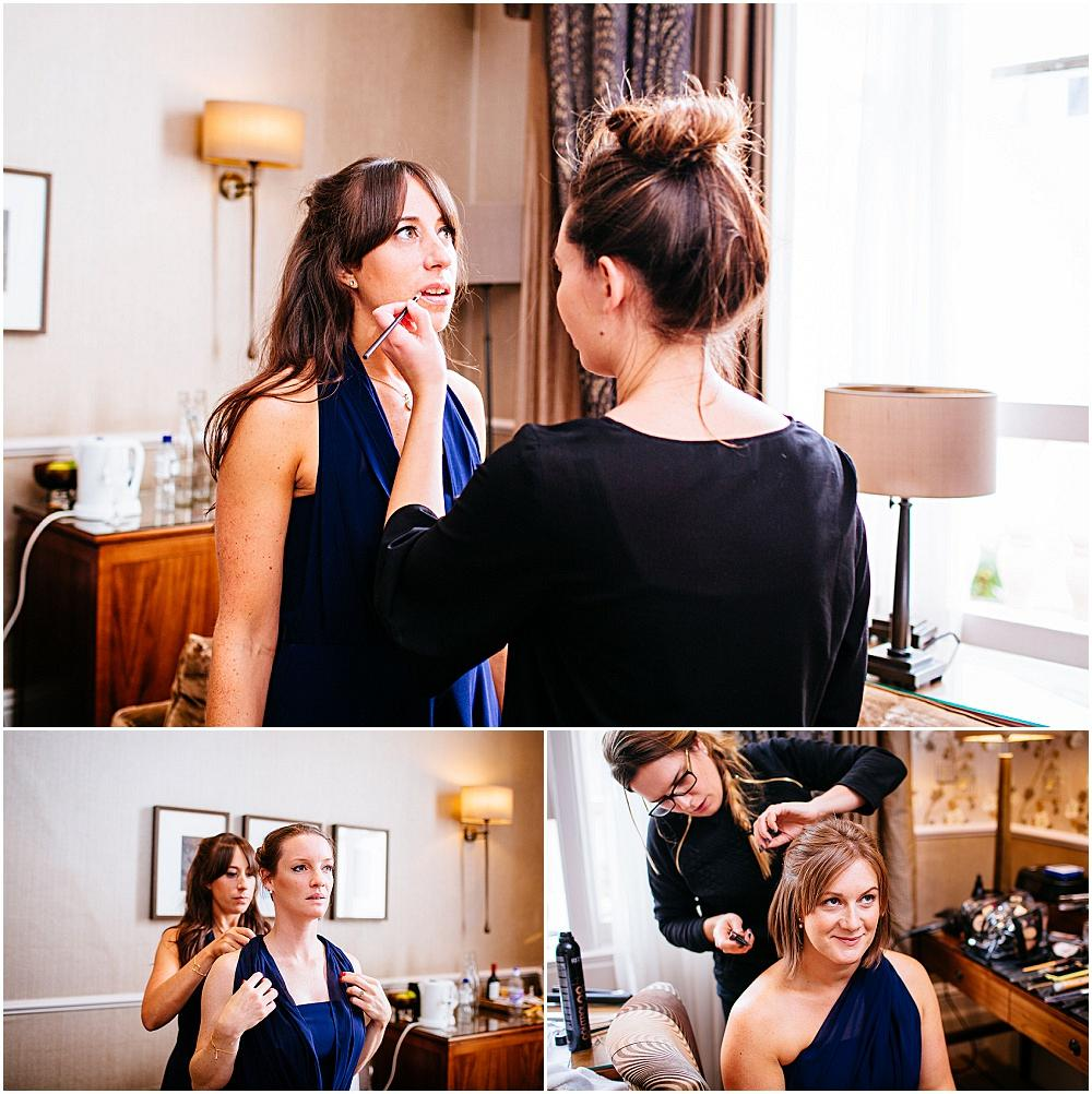 Bridesmaids being made up