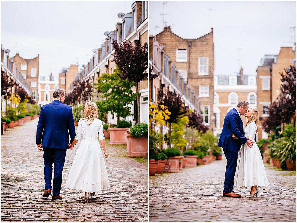 Wedding photos on pretty mews street