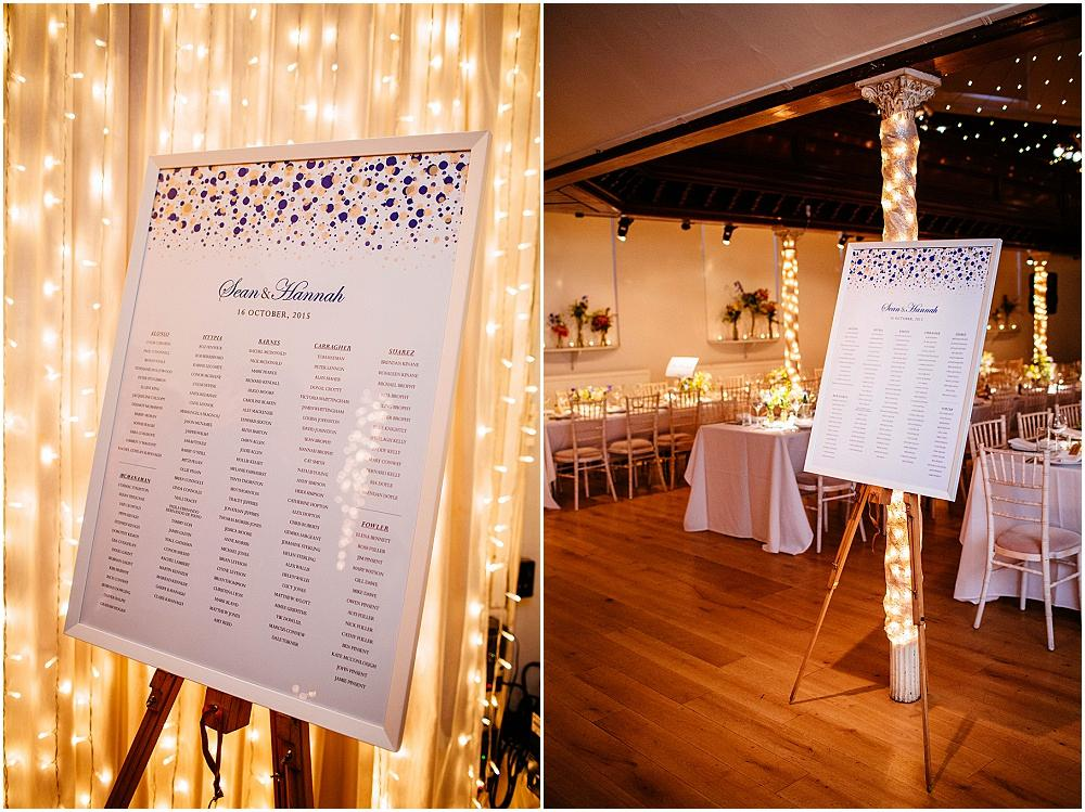 Table plan and sparkly lights