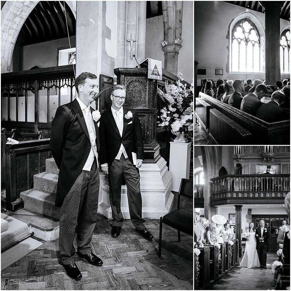 Groom gazes at bride as she arrives at odiham church