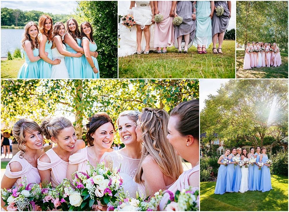 Pastel bridesmaids in sunshine