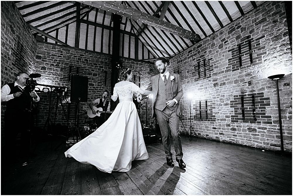 Swirling first dance at Bartholomew barn
