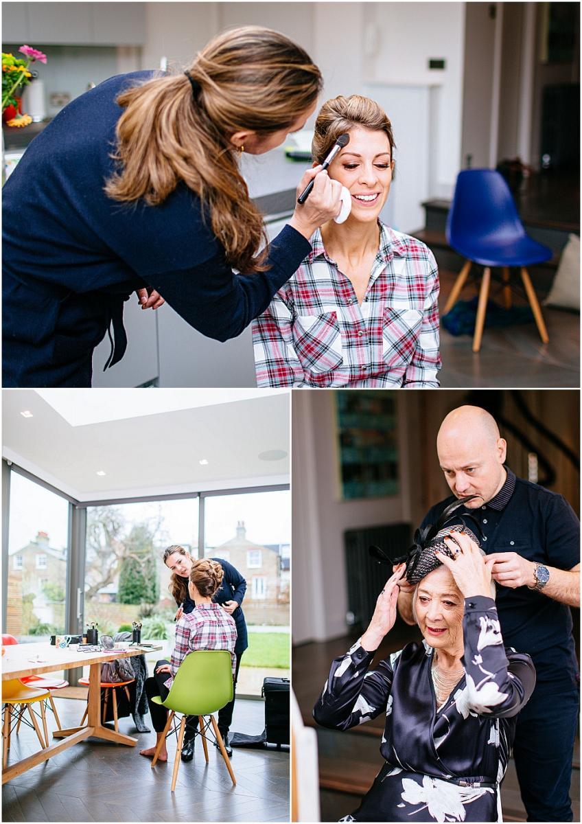 Bride having make up done