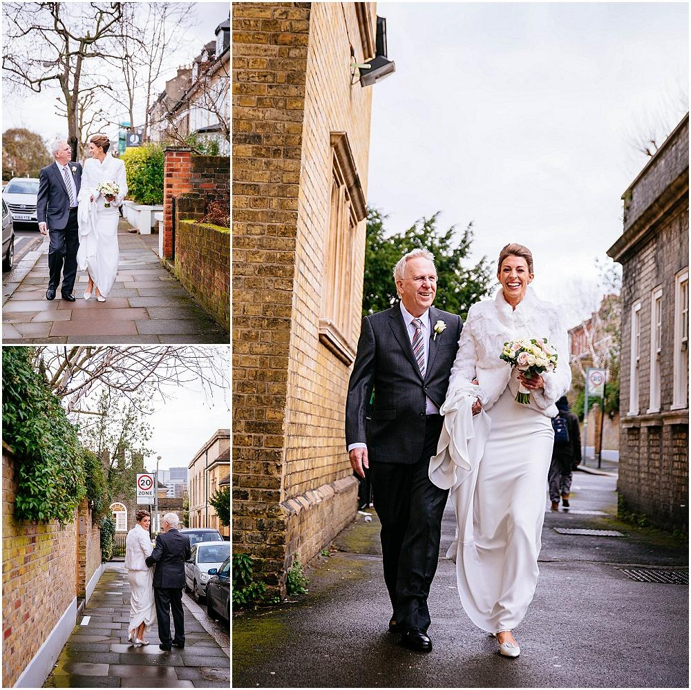 Walking from house to wandsworth church for wedding