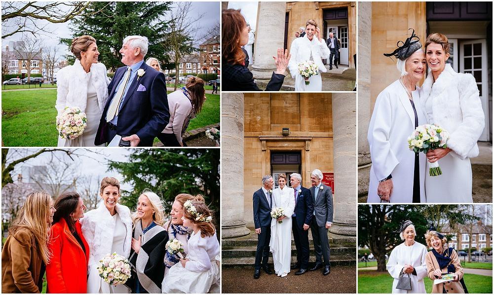 Wedding photographs outside st anns church wandsworth