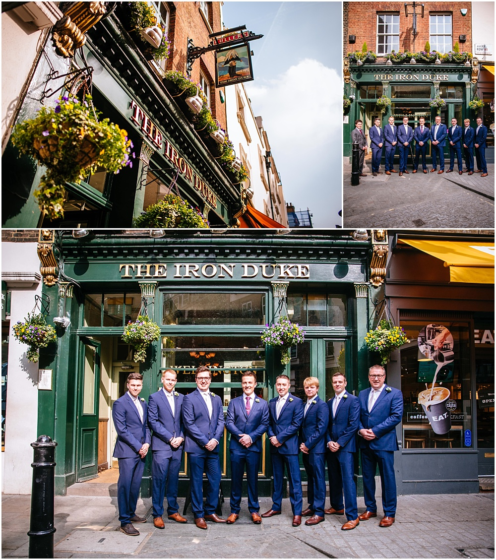 Ushers outside Iron duke befoe mayfair wedding