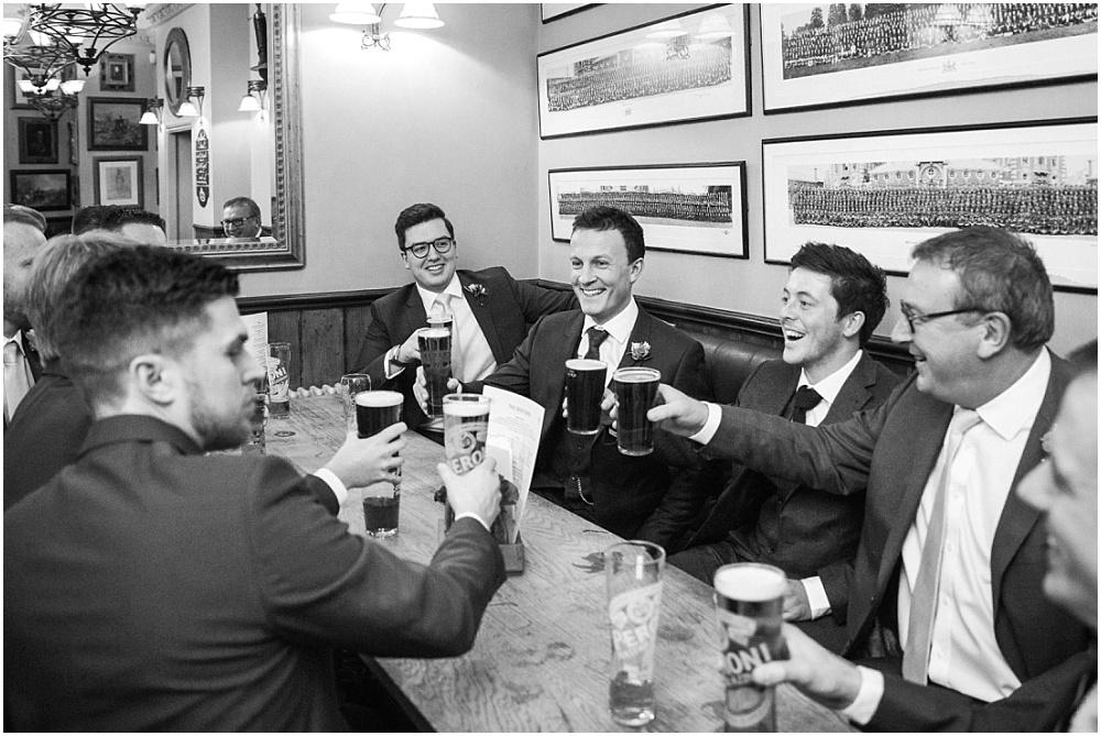 Cheers the boys before savile club wedding