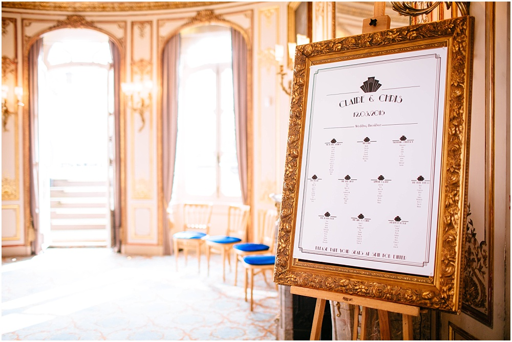 Table plan for wedding in ornate frame