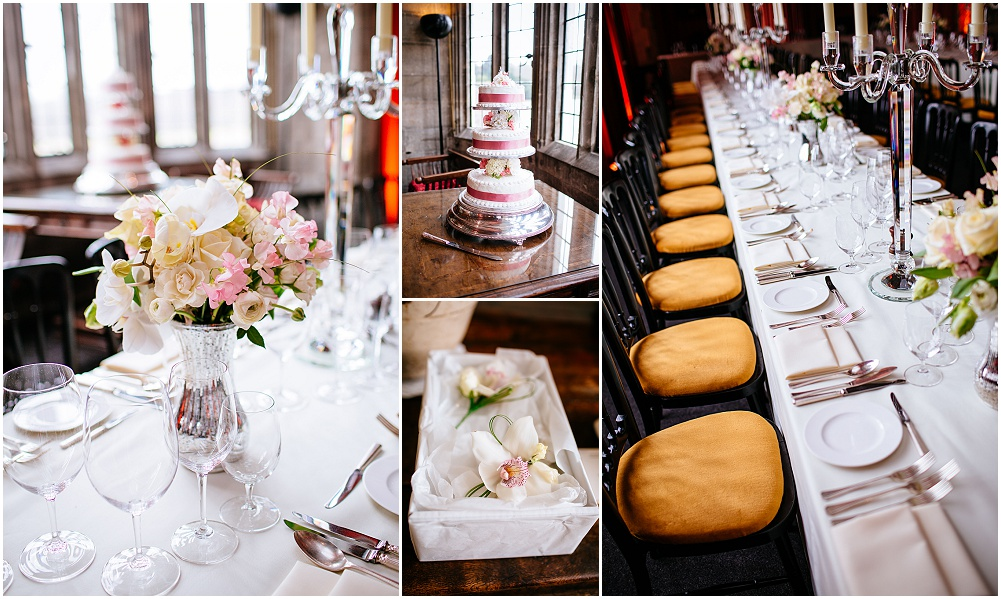 Leeds castle banqueting hall set up for wedding breakfast
